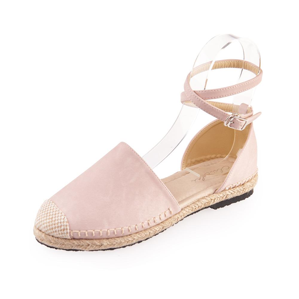 Chichi 繞踝扣環草編平底鞋*粉色