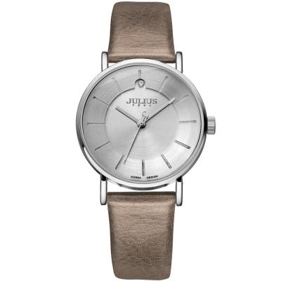 JULIUS聚利時 夏夜星辰點鑽皮革錶帶腕錶-鐵灰/31mm