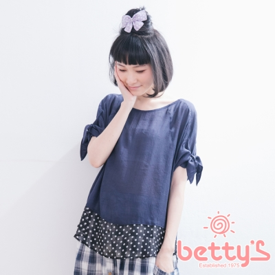 betty's貝蒂思 袖口綁結下擺拼接圓點雪紡上衣(藍色)