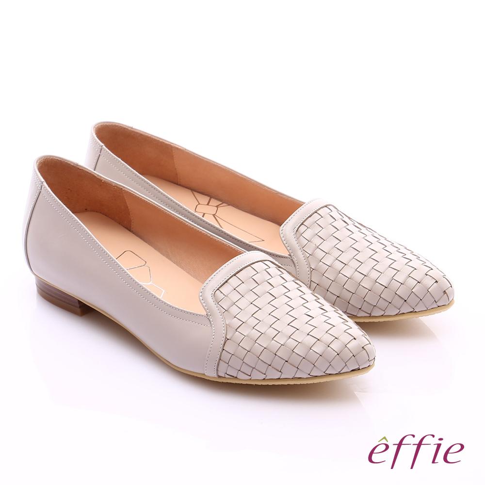 effie繽紛舒適 真皮編織尖楦低跟鞋 米色