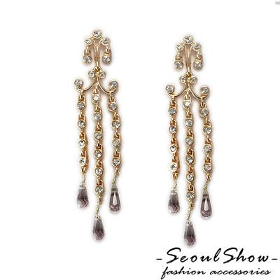 【Seoul Show】Jellyfish 奧地利紫水晶針式耳環