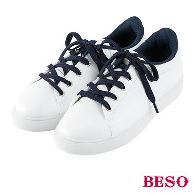 BESO 雨天萬歲 個性率性繫帶休閒雨鞋~白