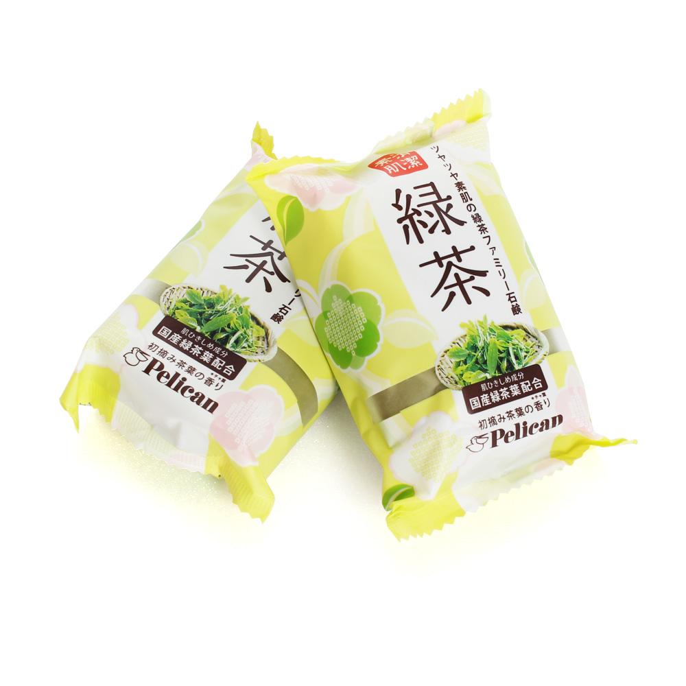 日本原裝 Pelican綠茶保濕洗顏皂80g(2入)