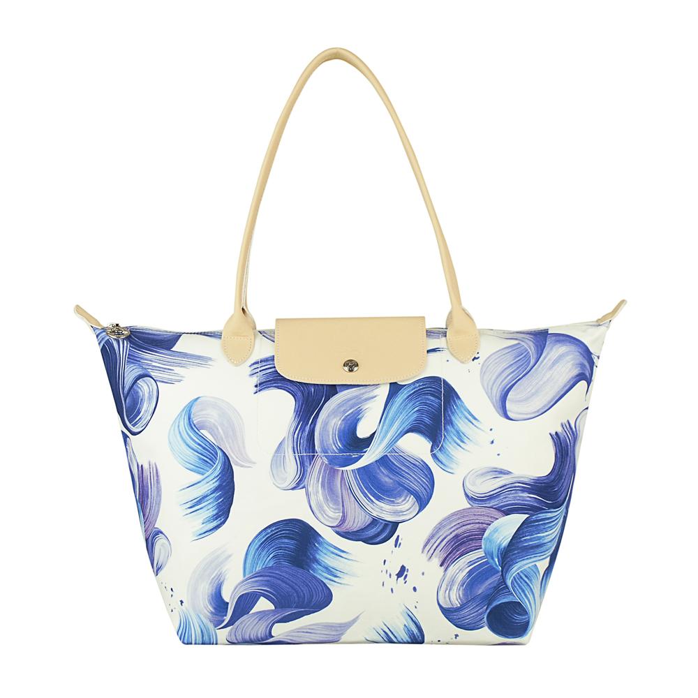 LONGCHAMP SPLASH水花圖案棉質帆布長提把肩背包(大/藍) @ Y!購物