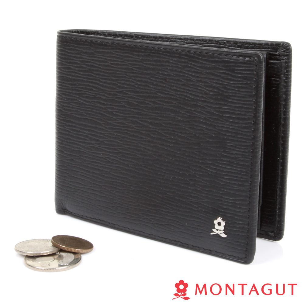 MONTAGUT夢特嬌- 精品頭層牛皮短夾-時尚黑
