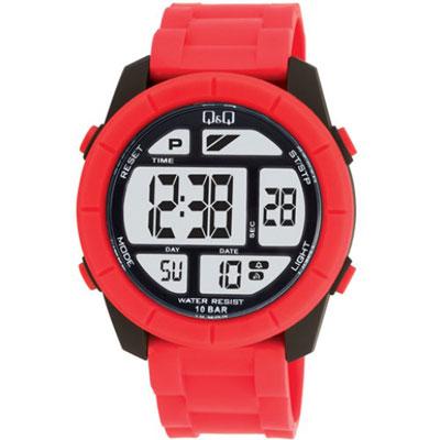 Q&Q 彩色潮流大鏡面多功能電子錶-紅/47mm
