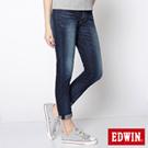 EDWIN 絕對素淨 MISS 503 TAPERED伸縮AB褲-女款(酵洗藍)