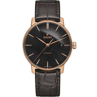 雷達 RADO Coupole 系列經典時尚機械腕錶-黑x咖啡色/37mm