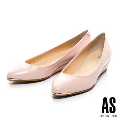 AS-金屬風典雅美型羊皮尖頭楔型鞋-粉