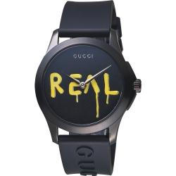 Gucci古馳 G-Timeless Real 造型錶-黑/38mm