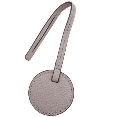 MICHAEL KORS 圓型防刮皮革吊飾(淡灰)