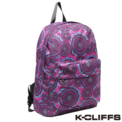 美國K-CLIFFS 經典圖紋輕巧雙肩後背包 紫