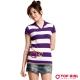TOP GIRL 蘋果條紋短袖針織衫-甜蜜紫