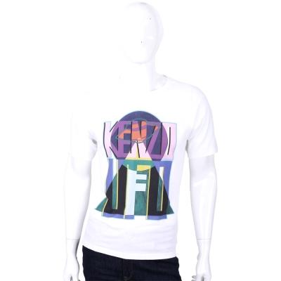 KENZO-白-幾何-多彩-字母-LOGO短袖T恤