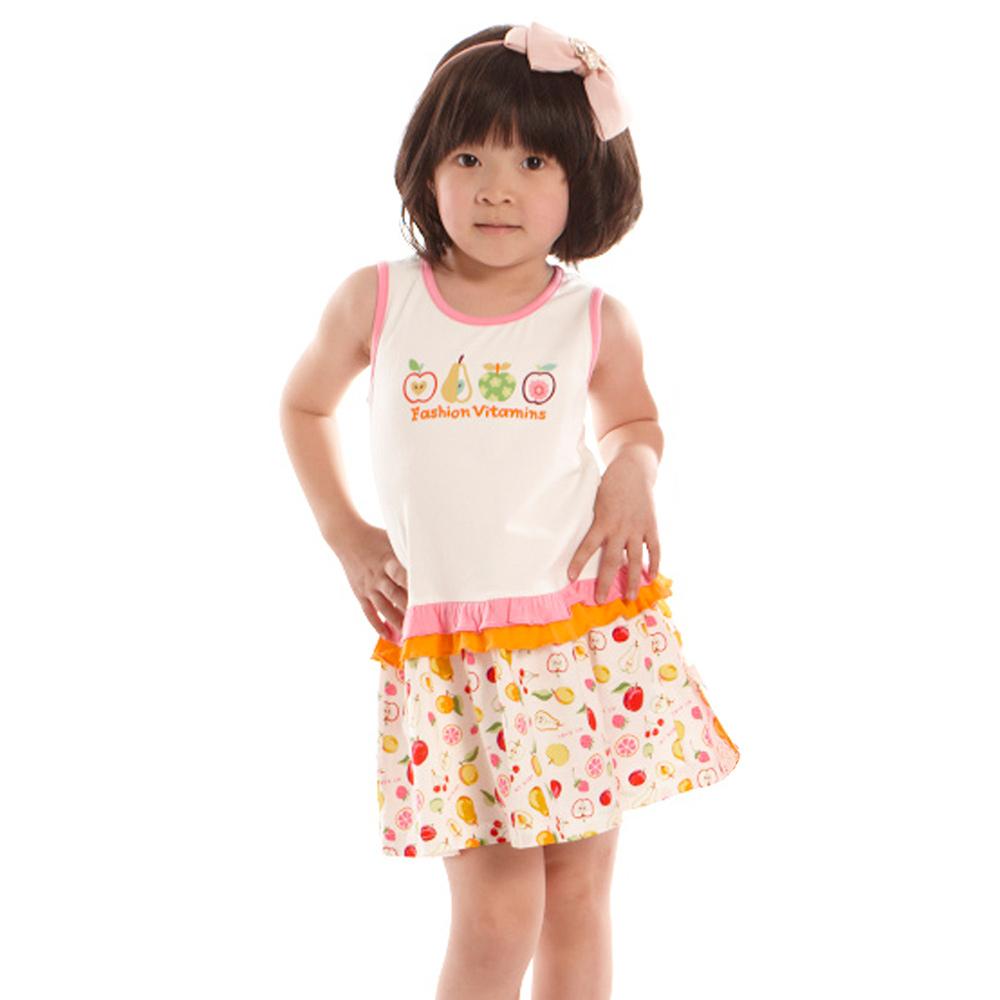 愛的世界 MYBABY 圓領拚接水果印花無袖洋裝/6~10歲