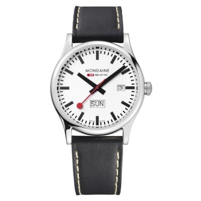MONDAINE-瑞士國鐵運動雙視窗腕錶-白-41mm