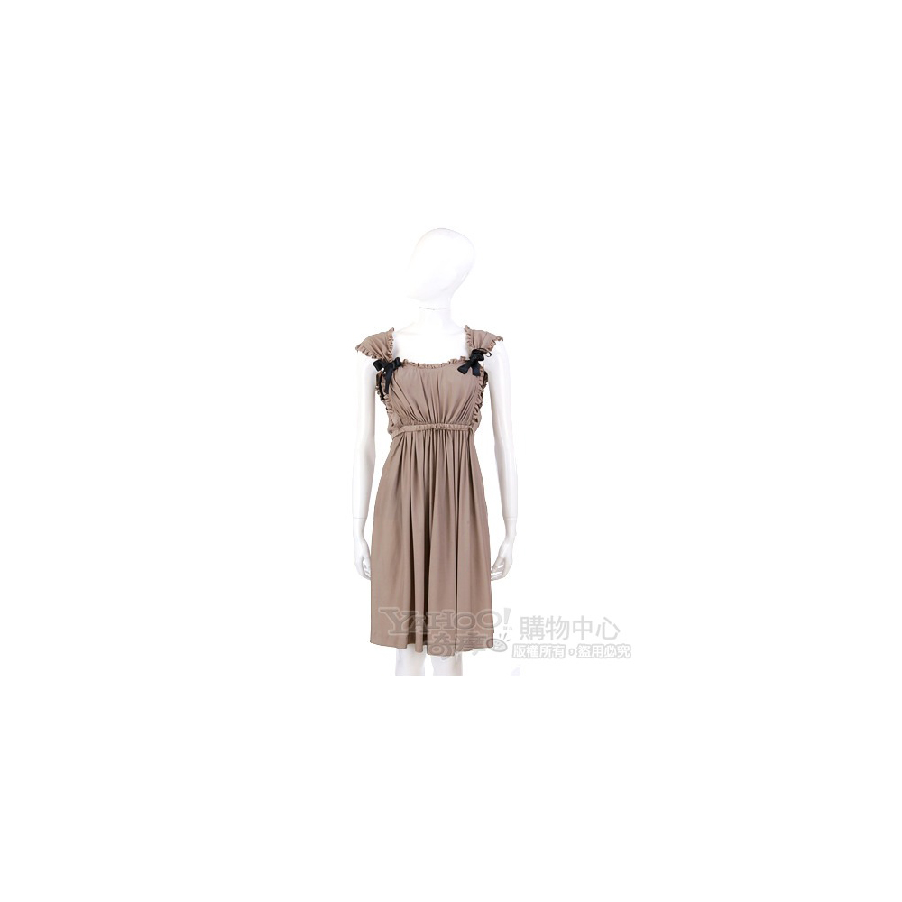 PAOLA FRANI 卡其色皺褶蝴蝶結飾洋裝