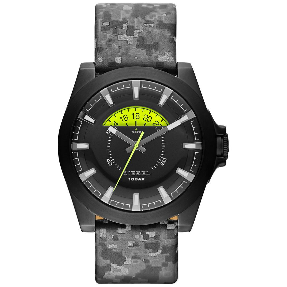 DIESEL 嶄新眺望個性皮帶腕錶-黑x迷彩/46mm @ Y!購物