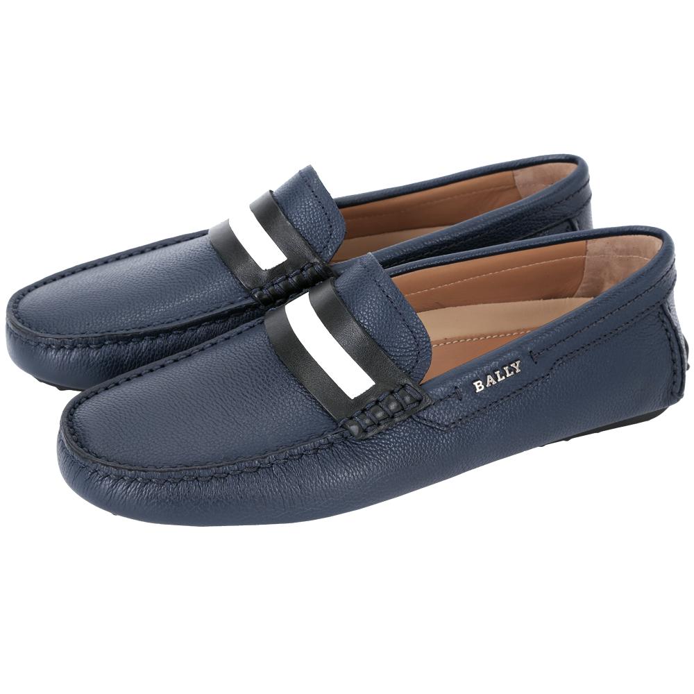 BALLY DRACON 黑白條紋飾牛皮樂福鞋(深藍色)