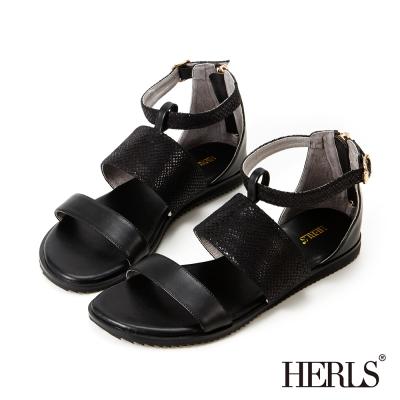 HERLS-仿蛇皮紋 寬版條帶羅馬涼鞋-黑色