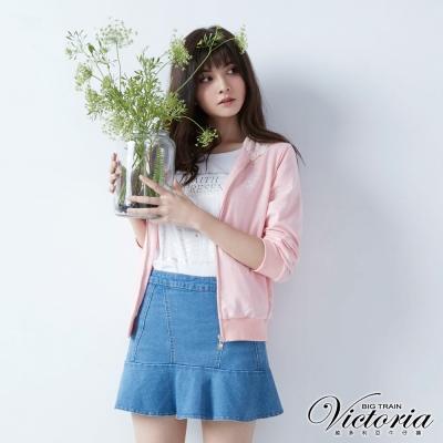 Victoria 蕾絲帽裏休閒連帽外套-女-粉花紗