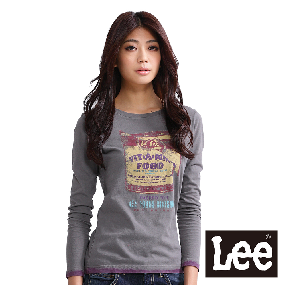 Lee 圓領長袖T恤 復古懷舊罐頭印刷-女款(灰)