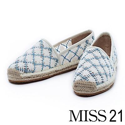 休閒鞋 MISS 21 沁甜花辦毛織網布休閒草編鞋-藍