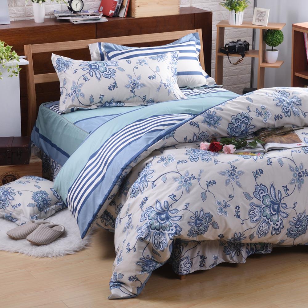 沙比瑞爾Saebi-Rer-藝想風華 台灣製活性柔絲絨加大六件式床罩組