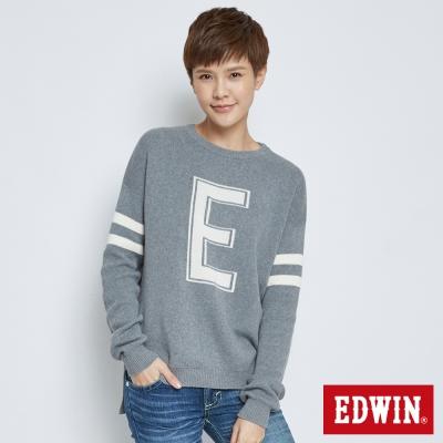 EDWIN流行前衛落肩E字毛衣-女-灰色