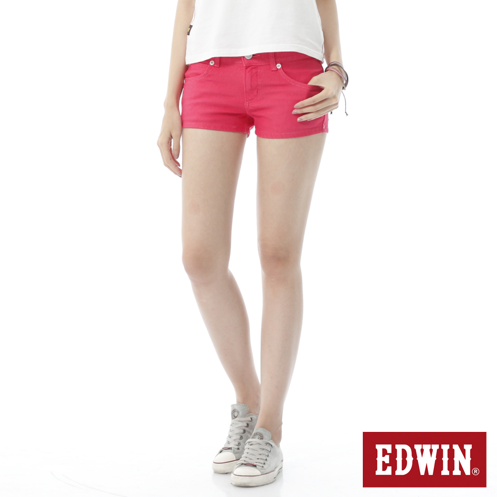 EDWIN 迦績褲JERSEYS短褲-女-玫瑰紅