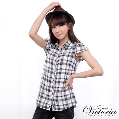 Victoria 格紋短袖襯衫-女-黑白