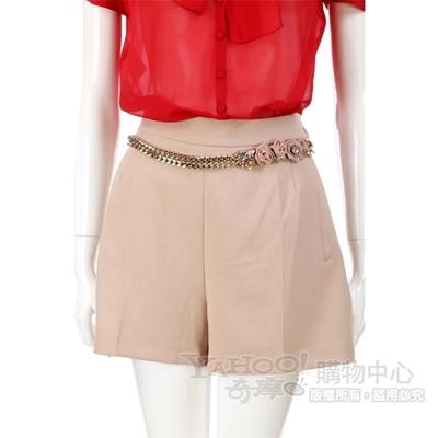 ELISABETTA FRANCHI 粉色玫瑰腰鍊飾短褲