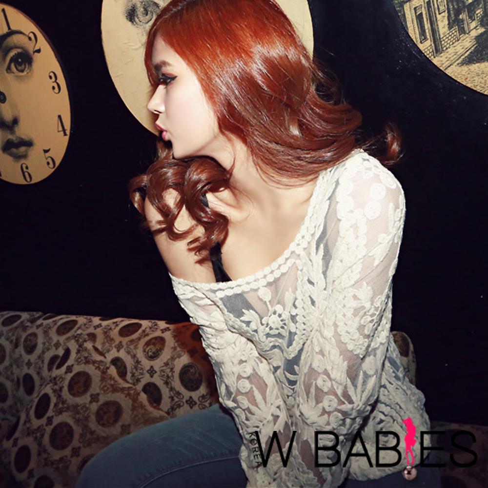 【W BABIES】精緻網紗蕾絲花紋襯衣 (白色)