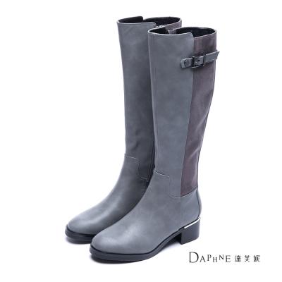 達芙妮DAPHNE-長靴-側釦帶拼接粗跟長靴-灰8H