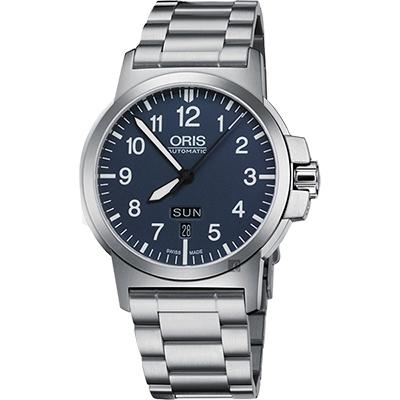 Oris豪利時 BC3 Advanced 日曆星期機械錶-藍x銀/42mm