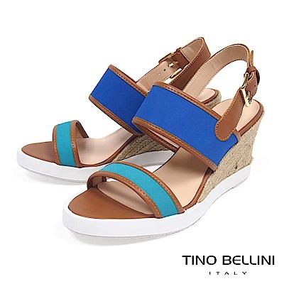 Tino Bellini巴西進口玩色楔形涼鞋_ 藍