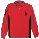 Ralph Lauren 大馬3號滾邊線長袖POLO男衫(紅黑)