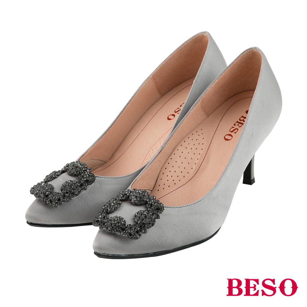 BESO優雅名媛 2ways穿法蝴蝶結與復古方釦跟鞋~銀
