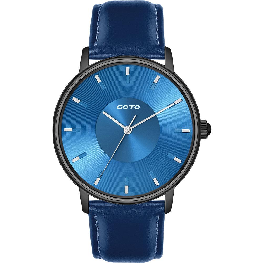 GOTO THINK簡約時尚手錶-IP黑x藍/42mm