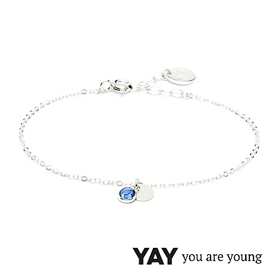 YAY You Are Young 法國品牌 Sultane 灰藍水晶手鍊 925純銀