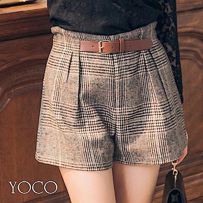 東京著衣-yoco 經典時髦復古格紋假腰帶短褲-S.M.L(共一色)