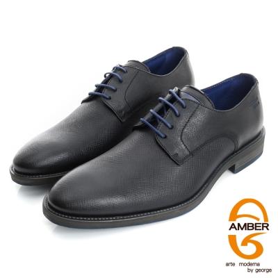 【AMBER】帥性都會 葡萄牙進口時尚壓紋紳士鞋皮鞋(男)-黑色
