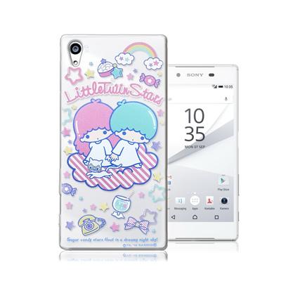 三麗鷗正版 雙子星 Sony Xperia Z5 5.2吋 透明軟式保護殼(休閒...