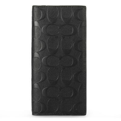 COACH 防刮皮革經典C LOGO浮雕壓紋直式長夾-黑色
