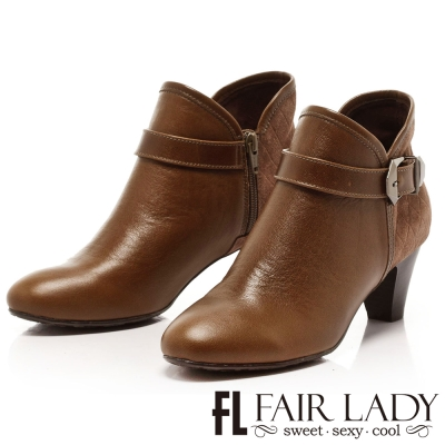 Fair Lady 個性飾扣帶V口粗跟短靴 灰