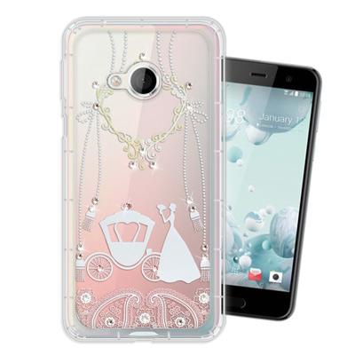 WT HTC U Play 5.2吋 奧地利水晶彩繪空壓手機殼(精靈捧花)