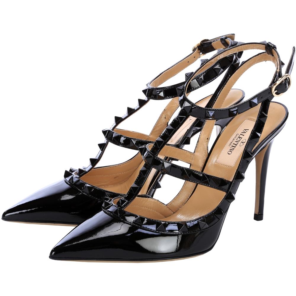 VALENTINO ROCKSTUD 鉚釘繫帶高跟鞋(黑色)