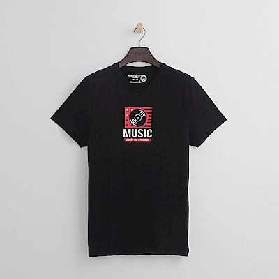 Hang Ten - 男裝 - 有機棉 MUSIC T恤-黑色