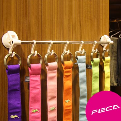FECA非卡 無痕強力吸盤 不鏽鋼滑軌掛勾 白