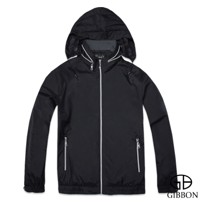 GIBBON 防潑水透氣輕薄連帽外套‧科技黑M~XL